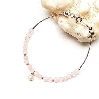 <Light Mature Women Series-Collection> Freshwater Pearl x Powder Crystal Cut Surface 925 Sterling Silver Bracelet Customized Gift