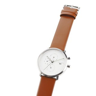 Minimal Watches : MONOCHROME CLASSIC - PEARL/LEATHER (Orange)