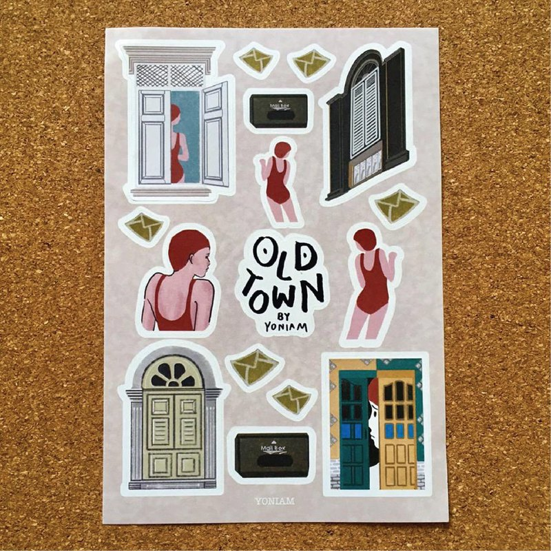 Sticker Girl & Old Town (1 pcs.)
