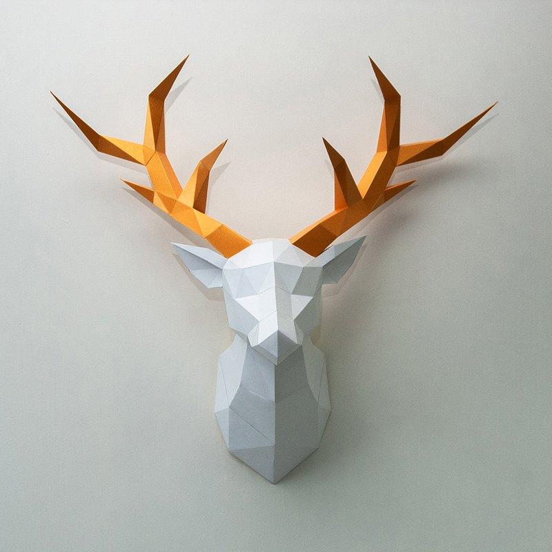 DIY手作3D紙模型擺飾 聖誕節/奇幻系列 - 鹿壁飾(2色可選)