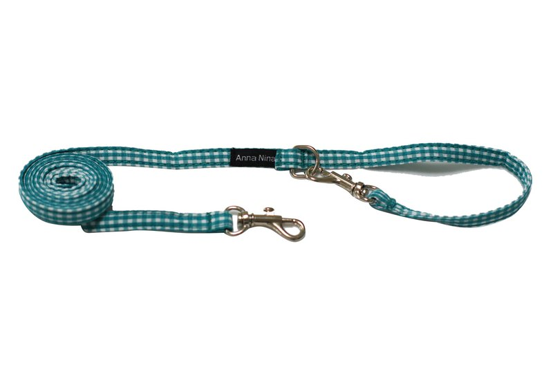 Pet leash fast buckle leash green and white check
