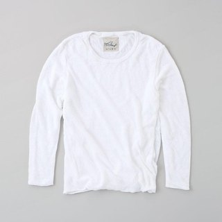 Linen knit women / M long sleeve pullover white