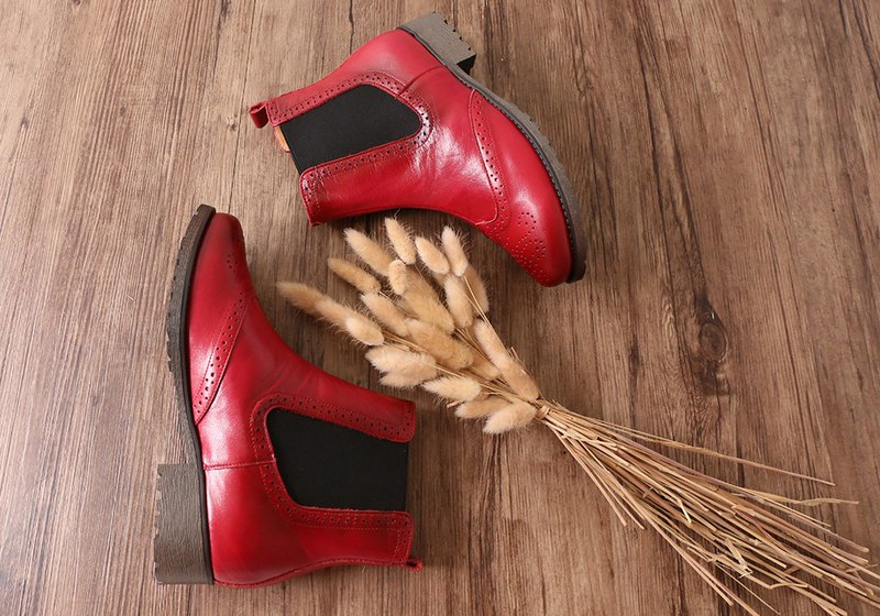 American vegetable tanned leather leather Oxford Chelsea booties red