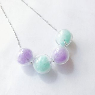 Purple Mint Green Glass Ball Colorful  Necklace Birthday Gift Bridesmaid