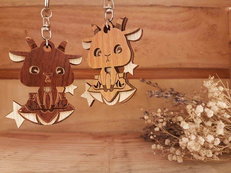 [Customized] Woodcarving Constellation Charm-Capricorn Gift\Key Ring