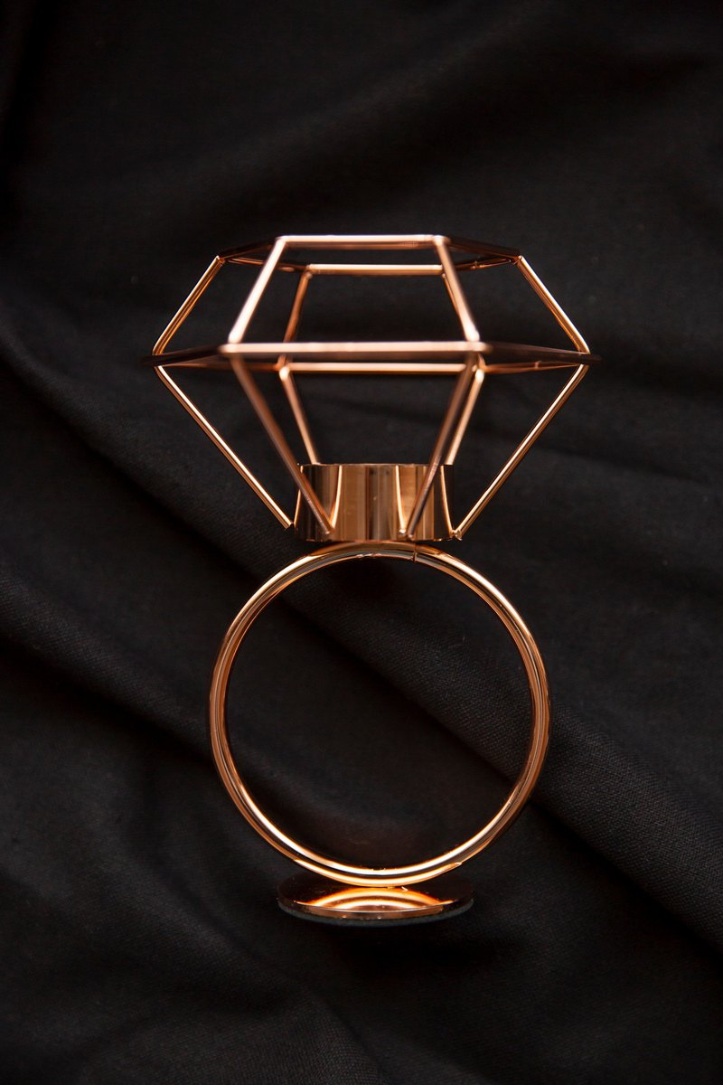 Experimental Project / Zero One / Geometric Lines - Diamond Candle Holder Taiwan - Rose Gold