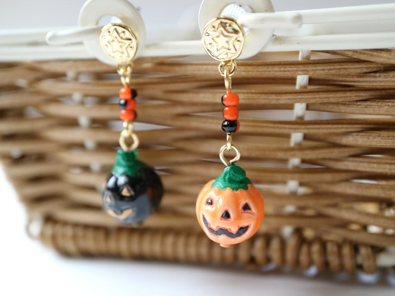Ghost pumpkin earrings halloween halloween haunted vegetables squash pumpkin autumn peru beads different colors cute black orange asymmetric shake