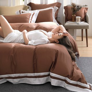 (Double size) Dream original color - Cappuccino 60 cotton multi-layer design bed bag four-piece group