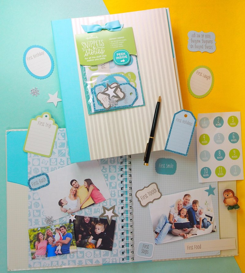 Male baby full color page scrapbook / accessories