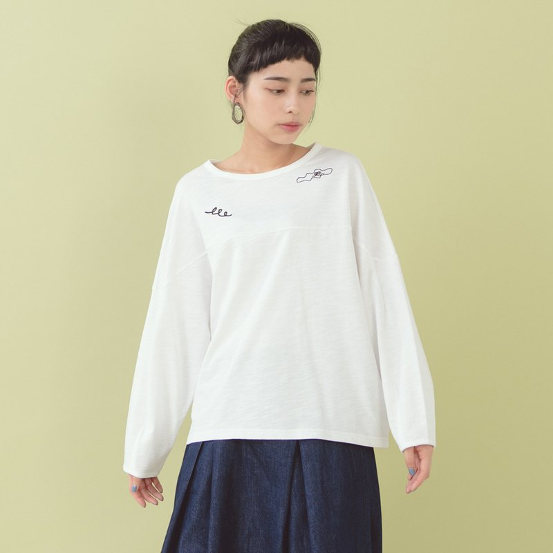 [E-WEAR] Floating Small Embroidered Cotton T - Tricolor