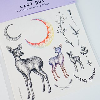 LAZY DUO Delicate Animal Temporary Tattoo Stickers Fake Moon Deer Flower Floral