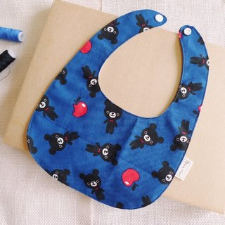 Apple Bear Blue - towel baby bibs / bibs