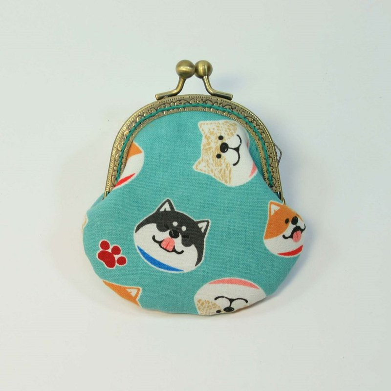 8.5cm gold coin purse 39 - Shiba Ink blue green bottom