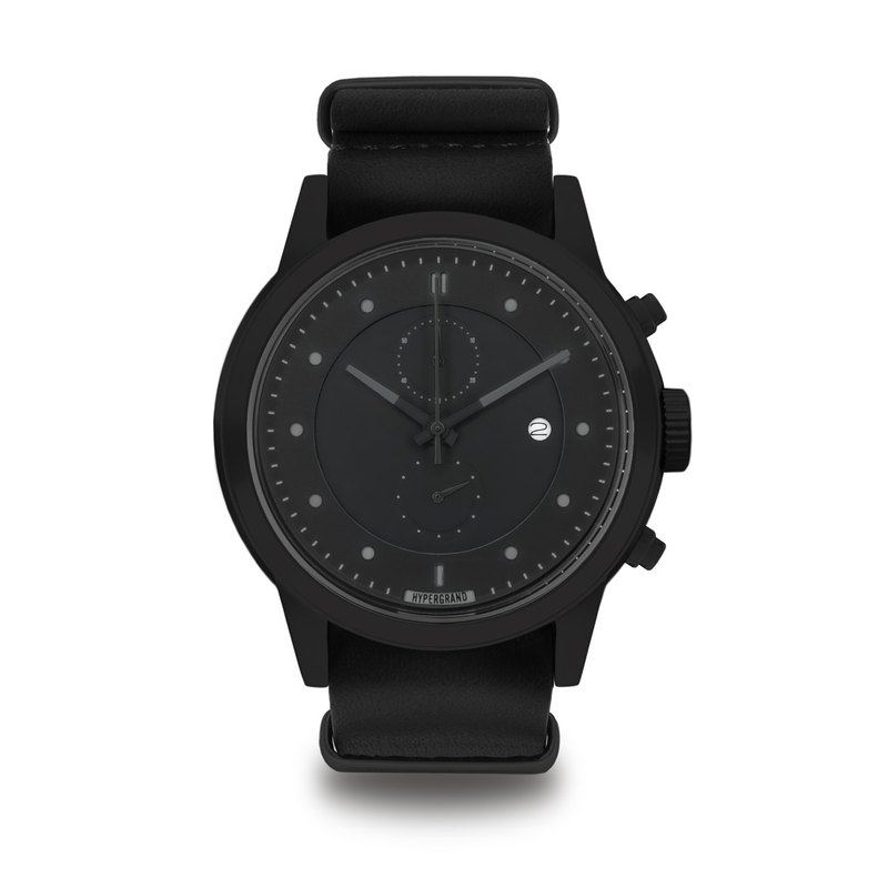 HYPERGRAND - Maverick Chrono BLACK LEATHER Cold Steel Chronograph - Mysterious Black Watch