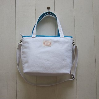 Macaron series - canvas medium tote bag (zipper opening + detachable adjustable strap) white + Turkish blue