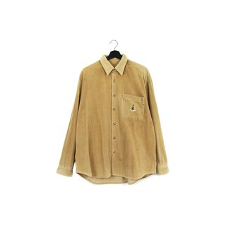 Back to Green :: corduroy thick card its big striped shirt // both men and women can wear // vintage (SH-05)
