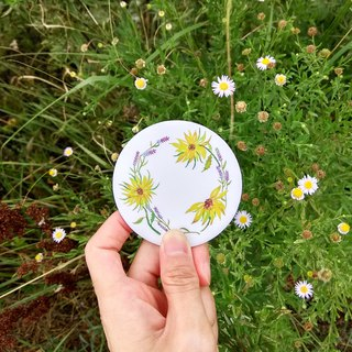 Mstandforc Sun flower Pocket Mirror with bag | Florals with gold foil service
