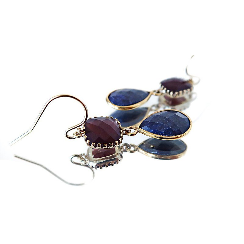 14KGF/ SAPPHIRE BURGUNDY GLASS EARRINGS