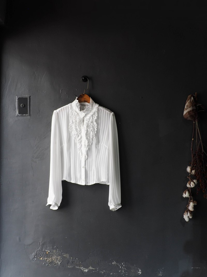 Aichi Pure White Roll Court Royal Romantic Striped Girl Antique Chiffon Silk Shirt Top Vintage