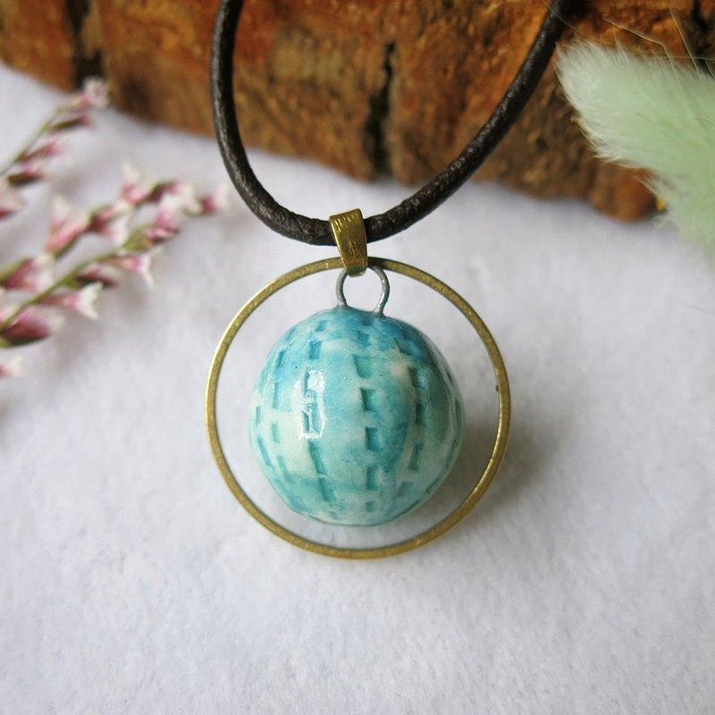 香水精油項鍊 湛藍青漸層釉 手作陶藝 擴香