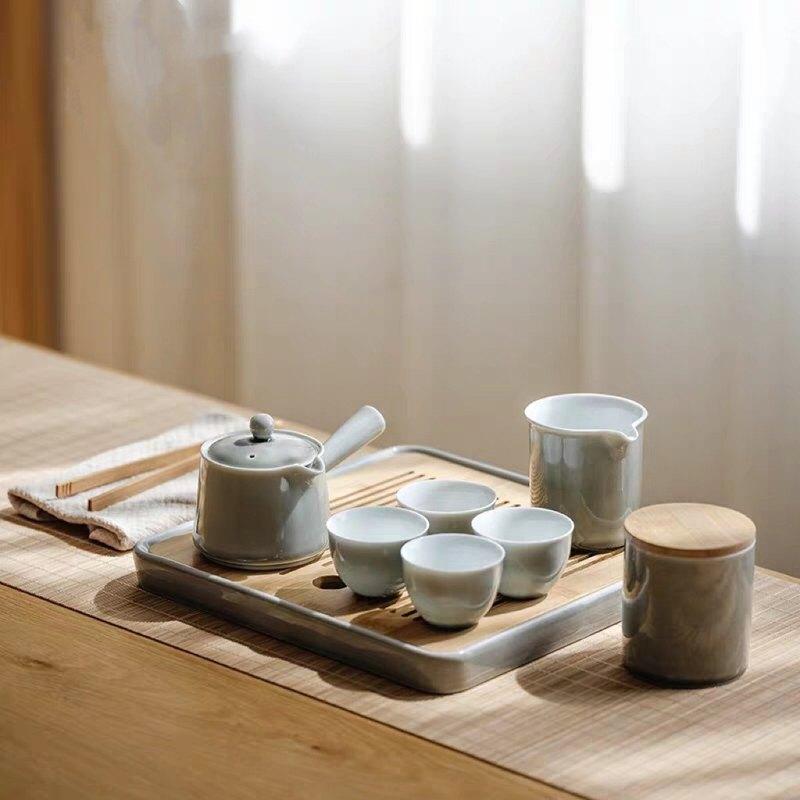 聞說 日式簡約茶壺茶具套裝 煙灰系列 辦公家用禮贈 禪意功夫陶瓷