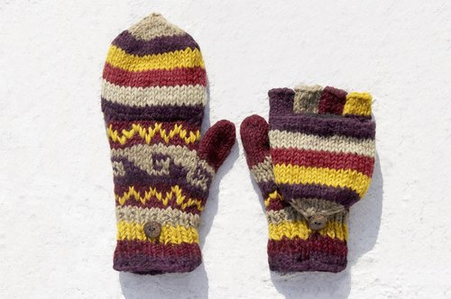Christmas gift ideas gift exchange gift limited a hand-woven pure wool knit gloves / detachable gloves / bristle gloves / warm gloves (made in nepal) - purple yellow magic sense Eastern European wave totem