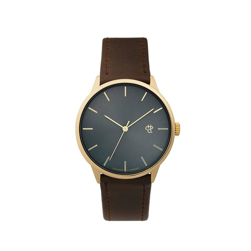 Khorshid gold dial brown leather watch