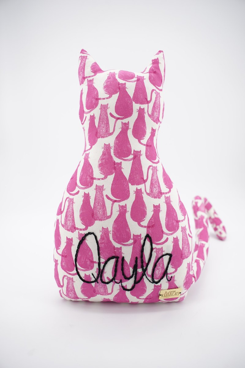 PREORDER Cat Cushion with Hand Embroidered Name