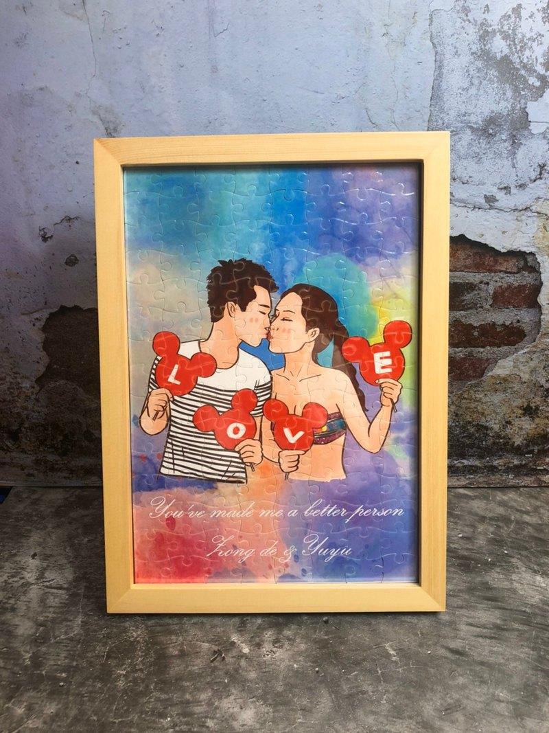 手繪【拼圖+木頭框】似顏繪 原木框 居家擺飾 回憶是無價的禮物
