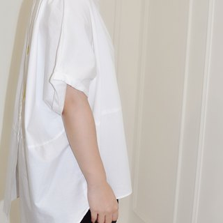 Flat 135 X Taiwan designer series partial white cotton fabric comfortable short-sleeved top