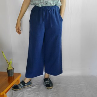 hand-woven cotton fabric long pants (light indigo)