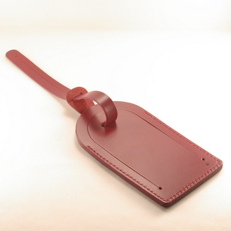 Classic luggage tag leather leather wine red pay guest lettering service with Christmas packaging