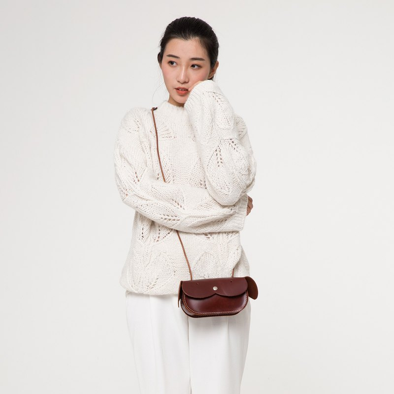 July Xacal original first layer leather handmade mini shoulder bag cute white take Messenger bag female mobile phone bag