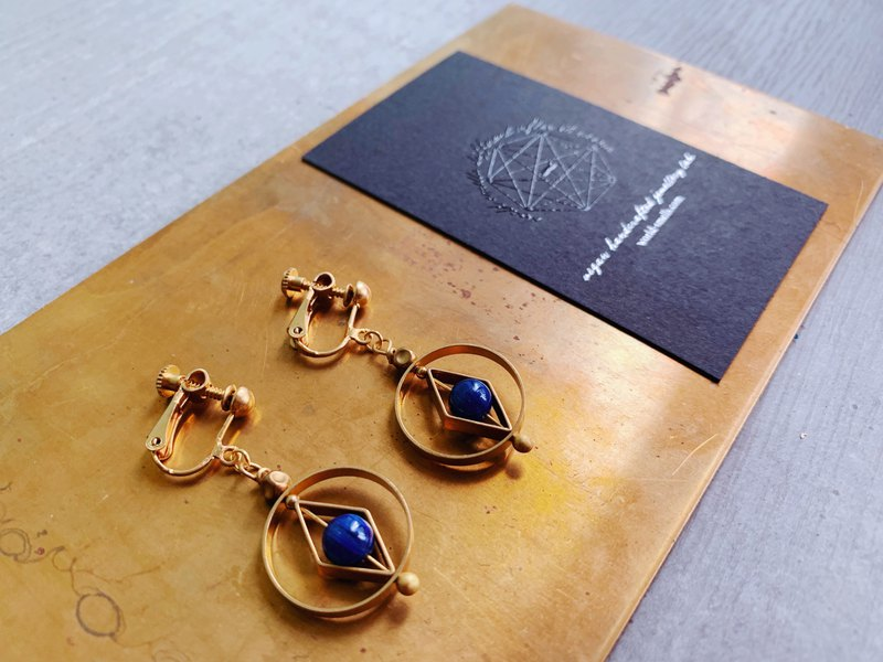 Geometric brass blue crystal ear clip - turnable ear hook (14KGF)