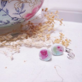 Rose in full bloom // 2nd use ornaments / ceramic ornaments / fracture traces / mint blue ceramic handmade earrings