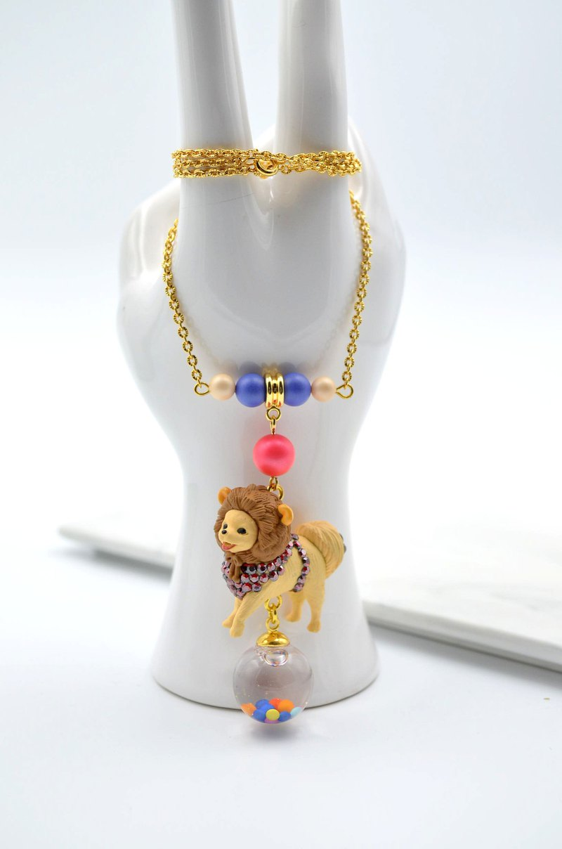 Chihuahua poodle decorated crystal stone necklace 18k gold copper chain shell synthetic pearl Swarovski crystal Chihuahua