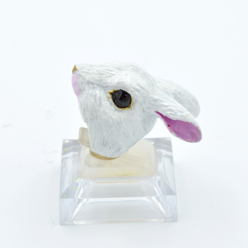 TIMBEE LO Brass Bunny Head Rings Full Hand Painted White Rabbit Transparent Resin Enamel