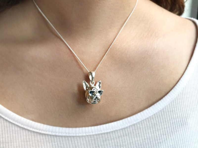925 silver 360 degree stereo method dog handmade necklace original section [Frankness Jewellery]