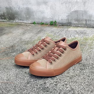 PI-ZERO retro style beige wash canvas and sulfur shoes