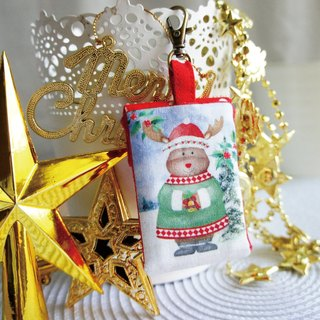 Lovely [Japanese cloth order] Christmas elk square peace bag, poem sign blessing bag, small jewelry bag