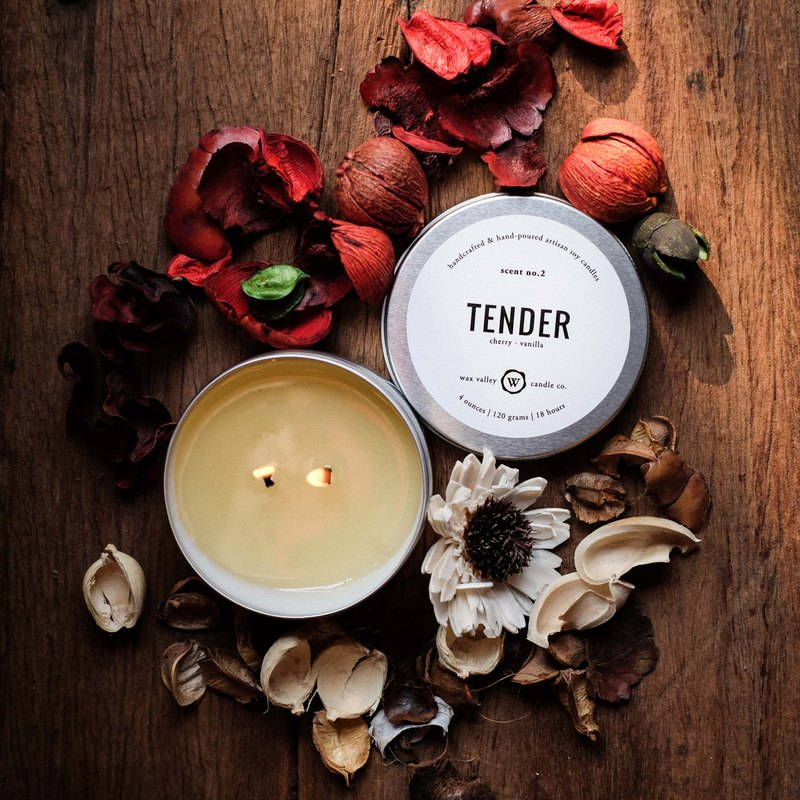 Soy Candle Tender Blend Travel Tin - Cherry & Vanilla