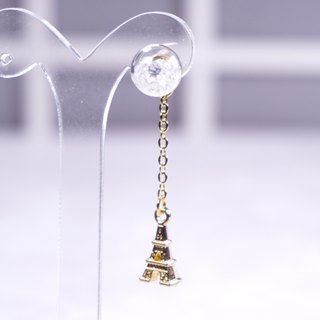 A Handmade white crystal ball earrings with Paris iron tower crane
