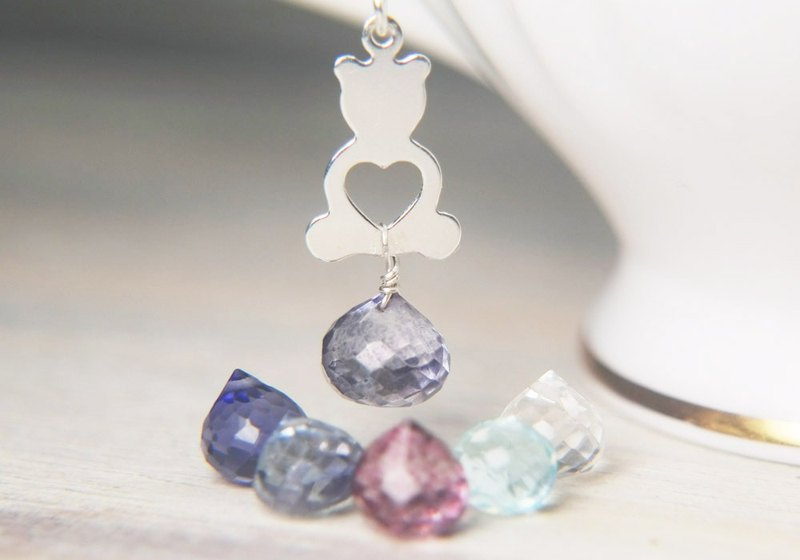 Crystal Bear Necklace bear with heart gemstone dangle pendant