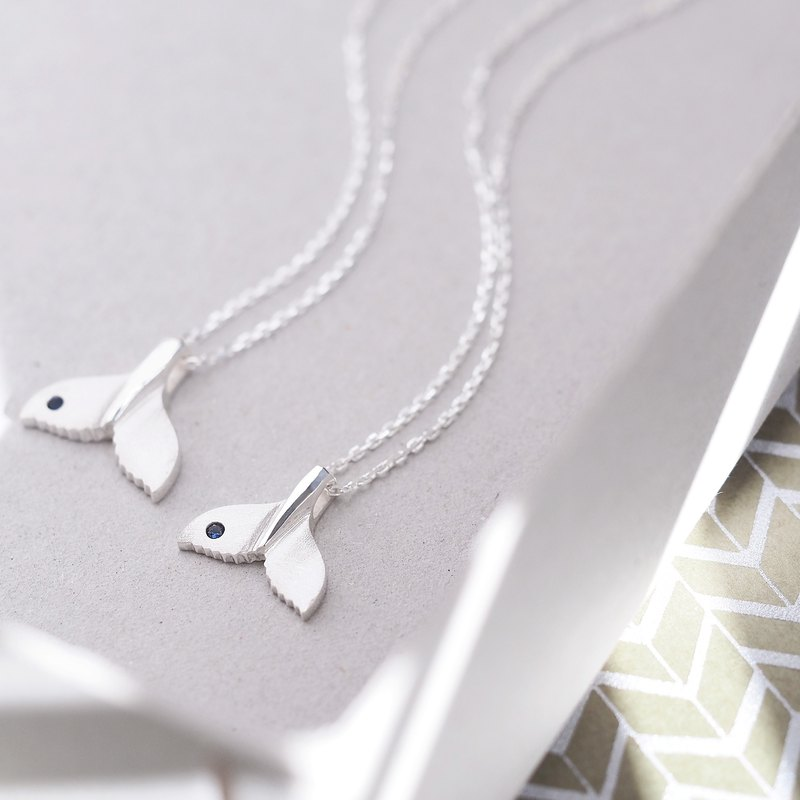 2 co set) Sapphire whale's tail pair Necklace 925 Silver