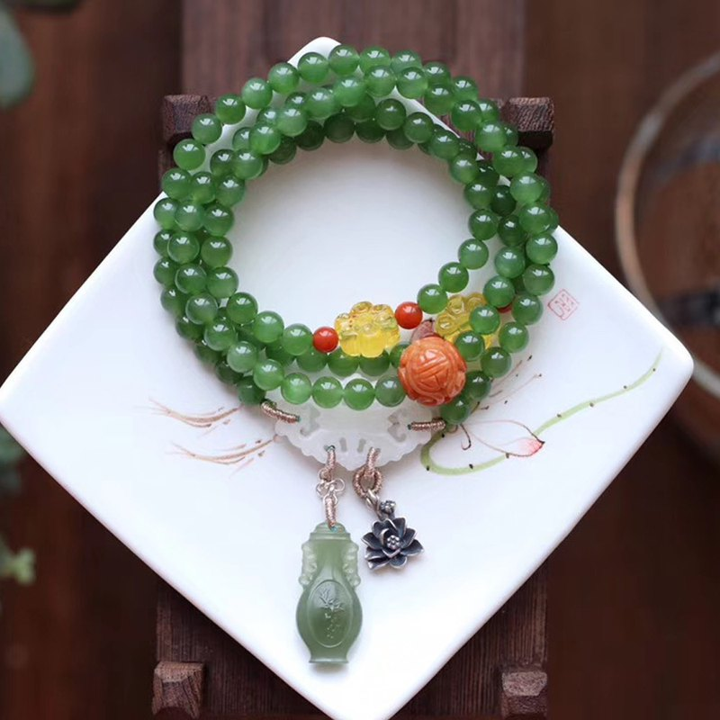 [New store welfare price] original natural jasper bracelet / 108 beads can be used as a necklace / high quality super beautiful