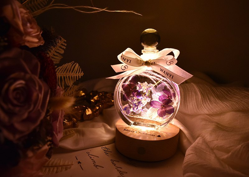 Romantic purple round floating flower diffused flower night light dry flower Christmas gift exchange gift
