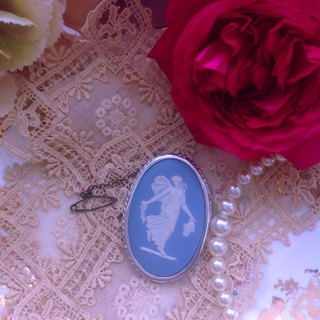 British bone china Wedgwood jasper blue jasper embossed dancing goddess brooch pin chain pendant brand new