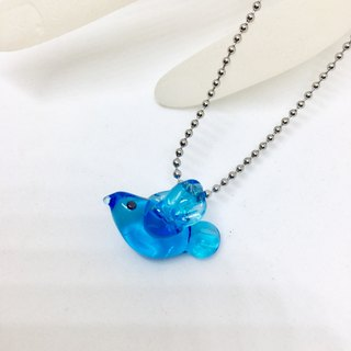 Happy green bird glass necklace