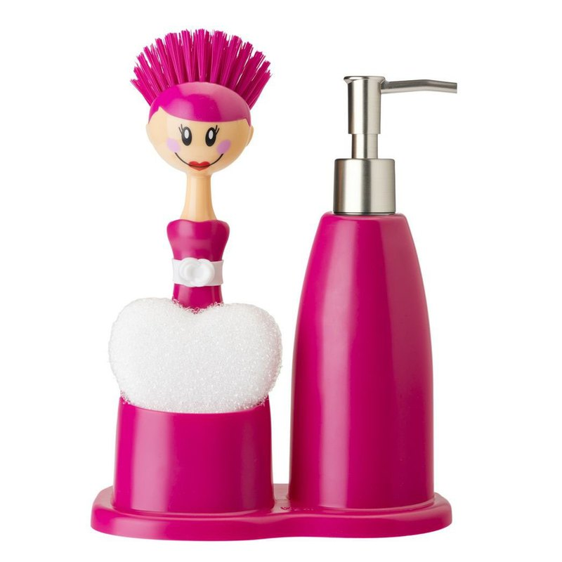 Spanish brand Vigar - doll brush + cleaning liquid bottle (hand wash bottle) group - pink