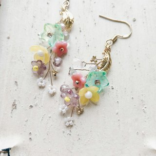 Momolico peach lily earrings colorful bouquets can be changed